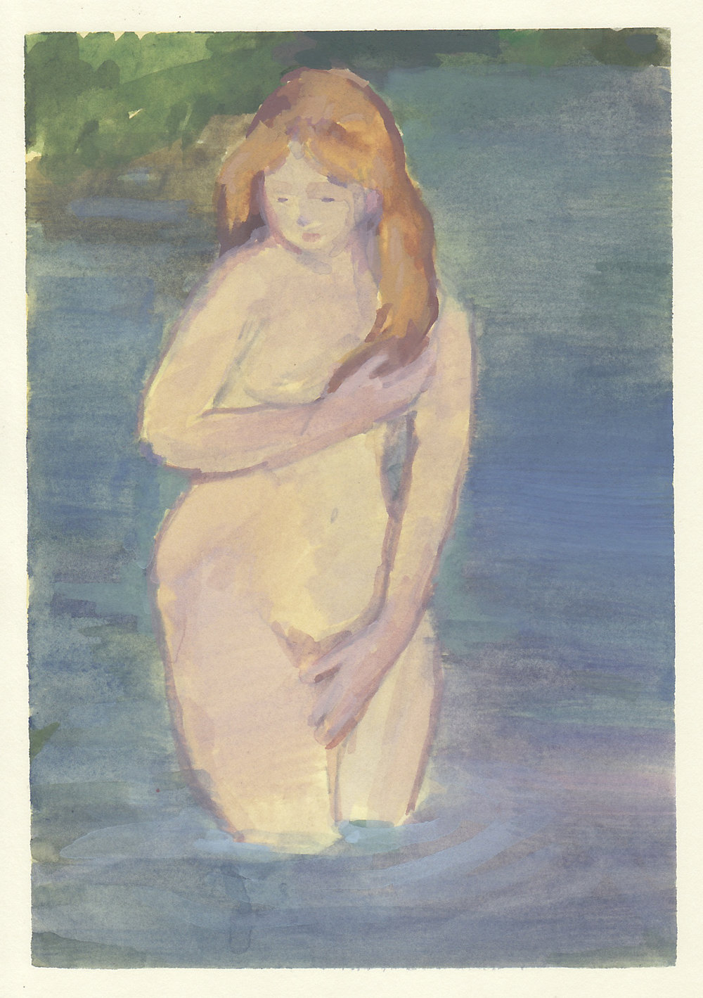 "bather   watercolor and gouache on paper  4.5x6.5""  2018   purchase"