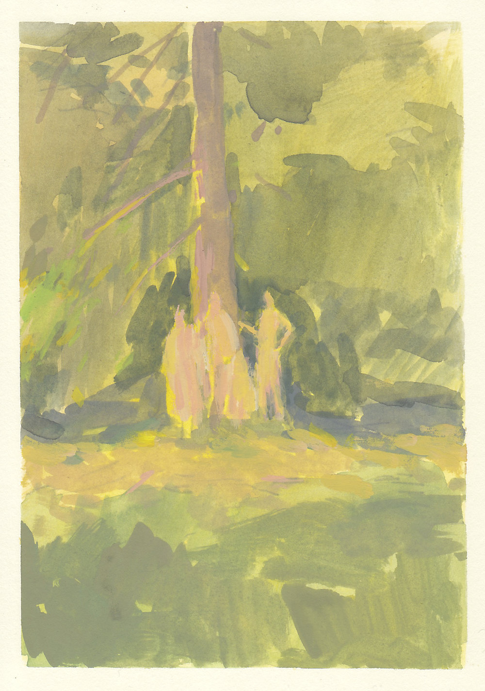 "pines people   gouache on paper  4.5x6.5""  2018   purchase"