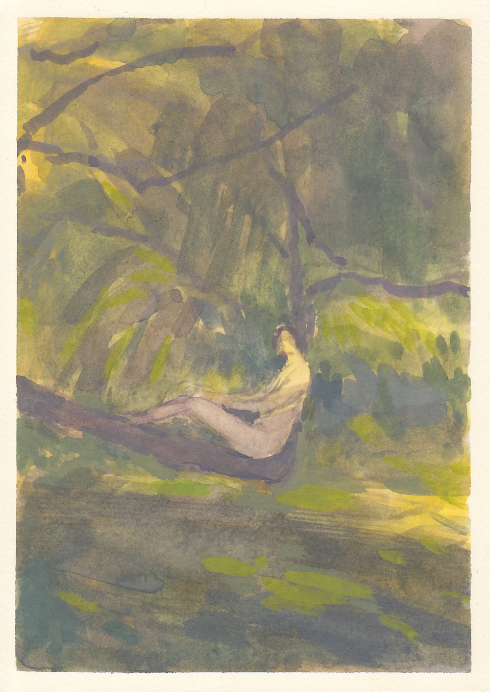"the napping tree   gouache on paper  4.5x6.5""  2018   purchase"