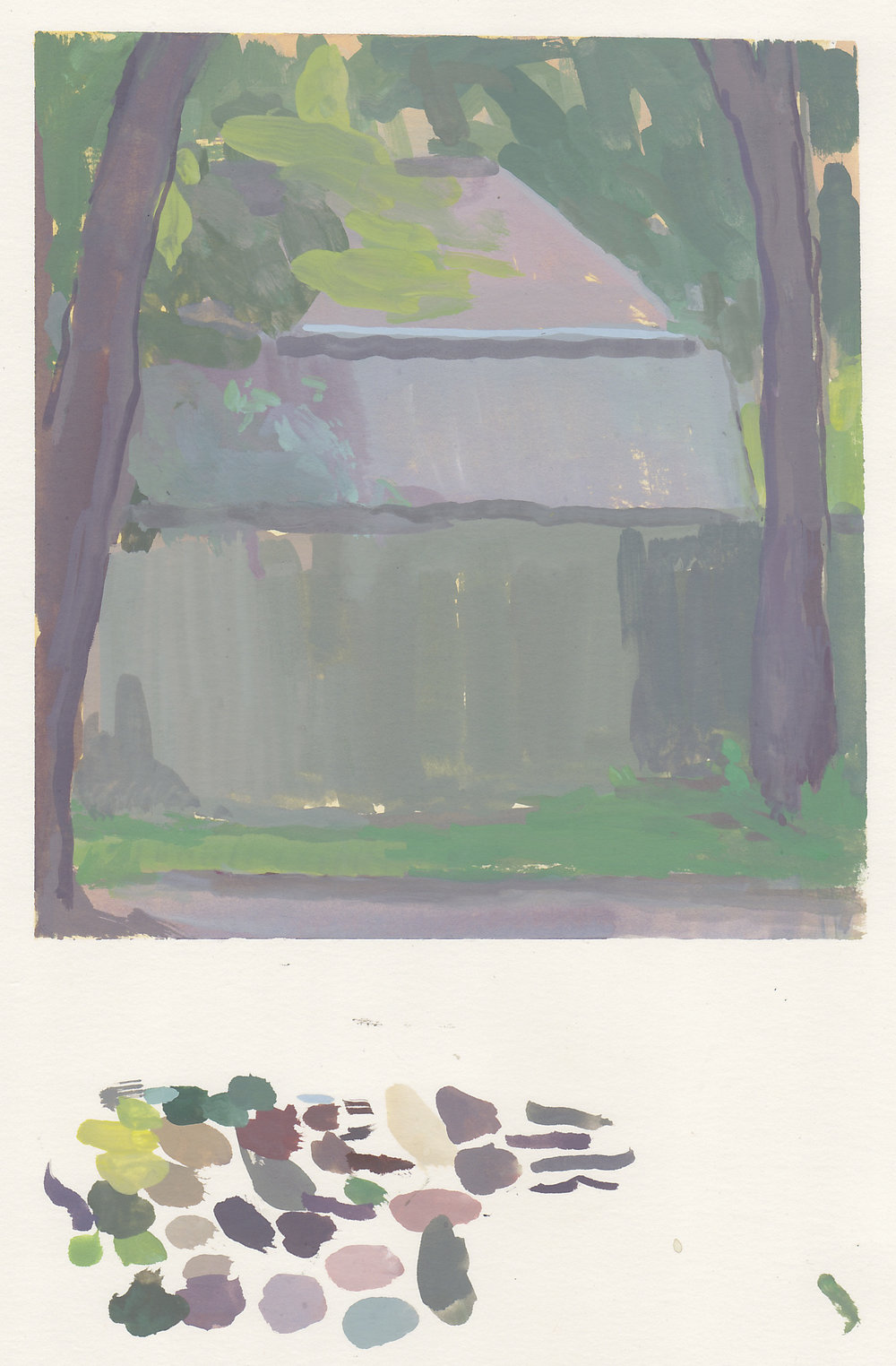 "two roofs, two trees, and a fence   gouache on paper  6x6.5""  2017   purchase"