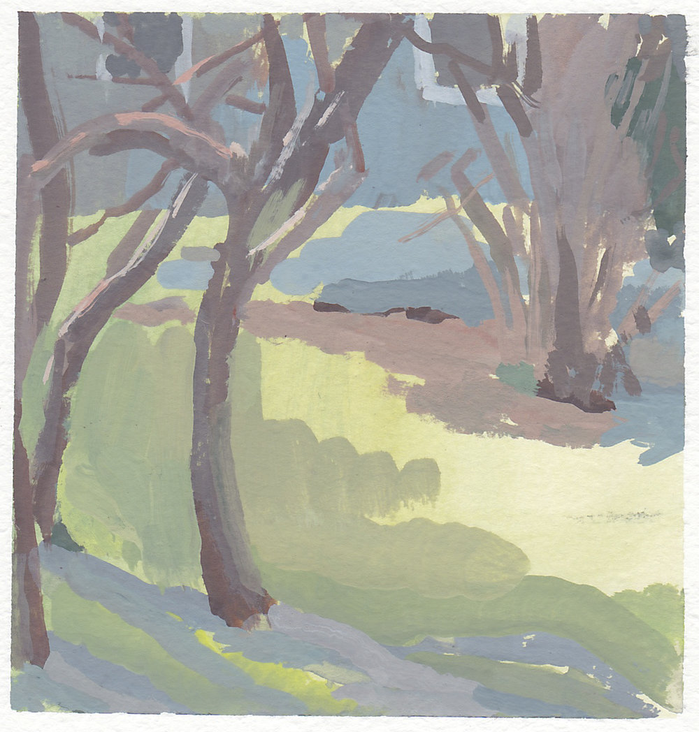 """plum tree in february   gouache on paper  4x4""""  2018   purchase"""