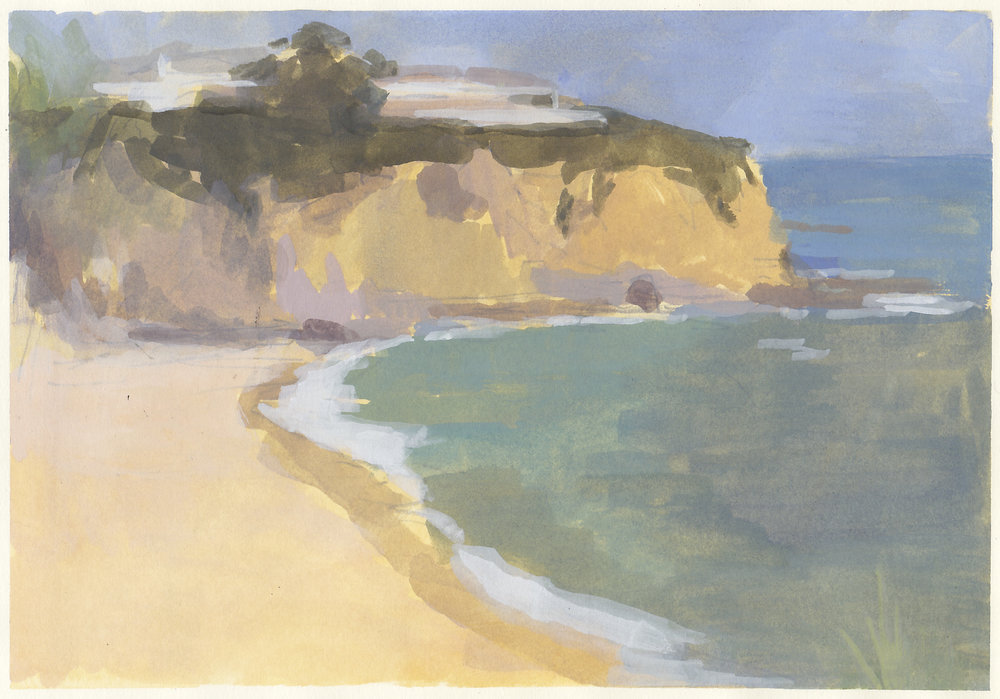"the cove  gouache on paper 7.25x10.5""  private collection Laguna Beach, CA  purchase prints"