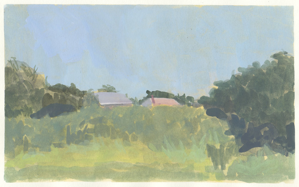 "bayside  gouache on paper  5.75 x 9.25""  2018   purchase"