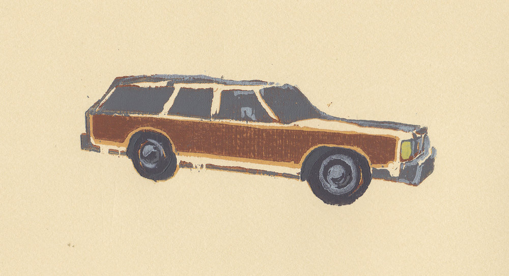 """country squire   reductive woodblock print, edition of 6  4x6""""  2011   purchase"""