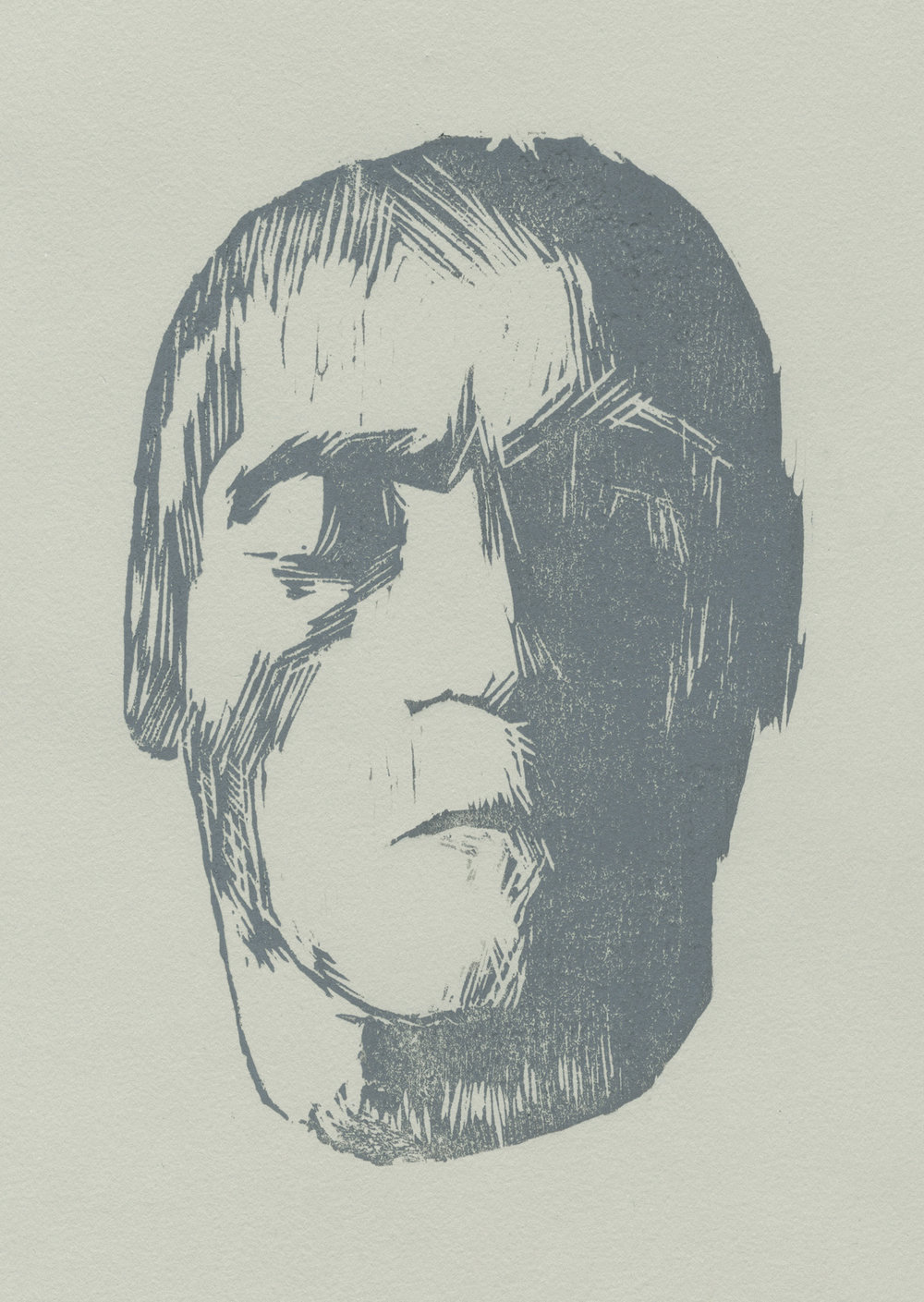 """Beethoven's Death Mask  woodblock print edition of 30 5.75x8.5"""" 2012   purchase"""