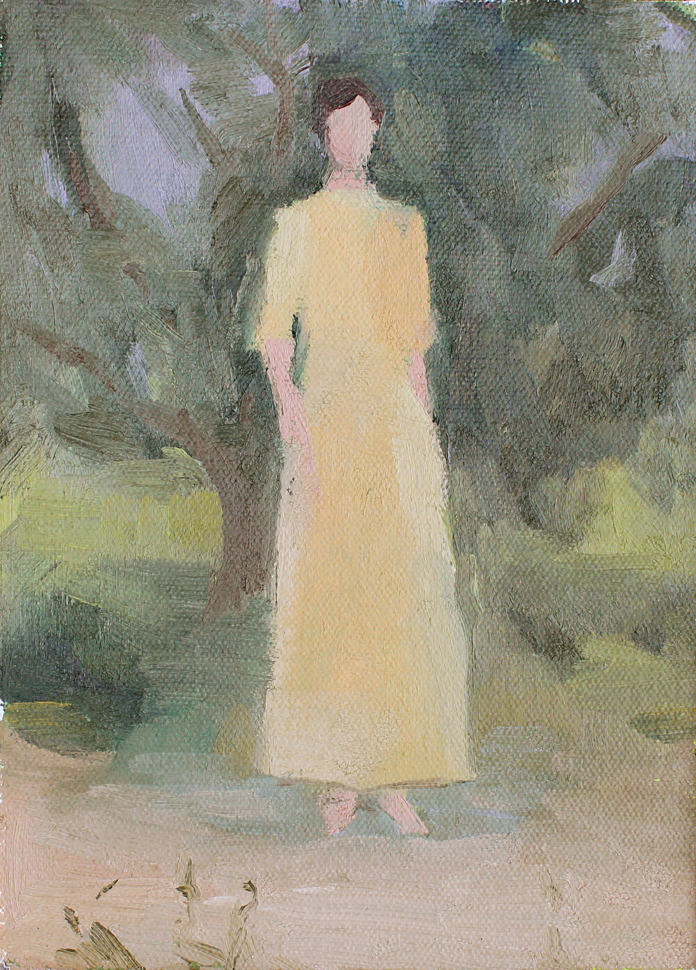 "woman in a yellow dress   oil on canvas  5x7""  2017   purchase"