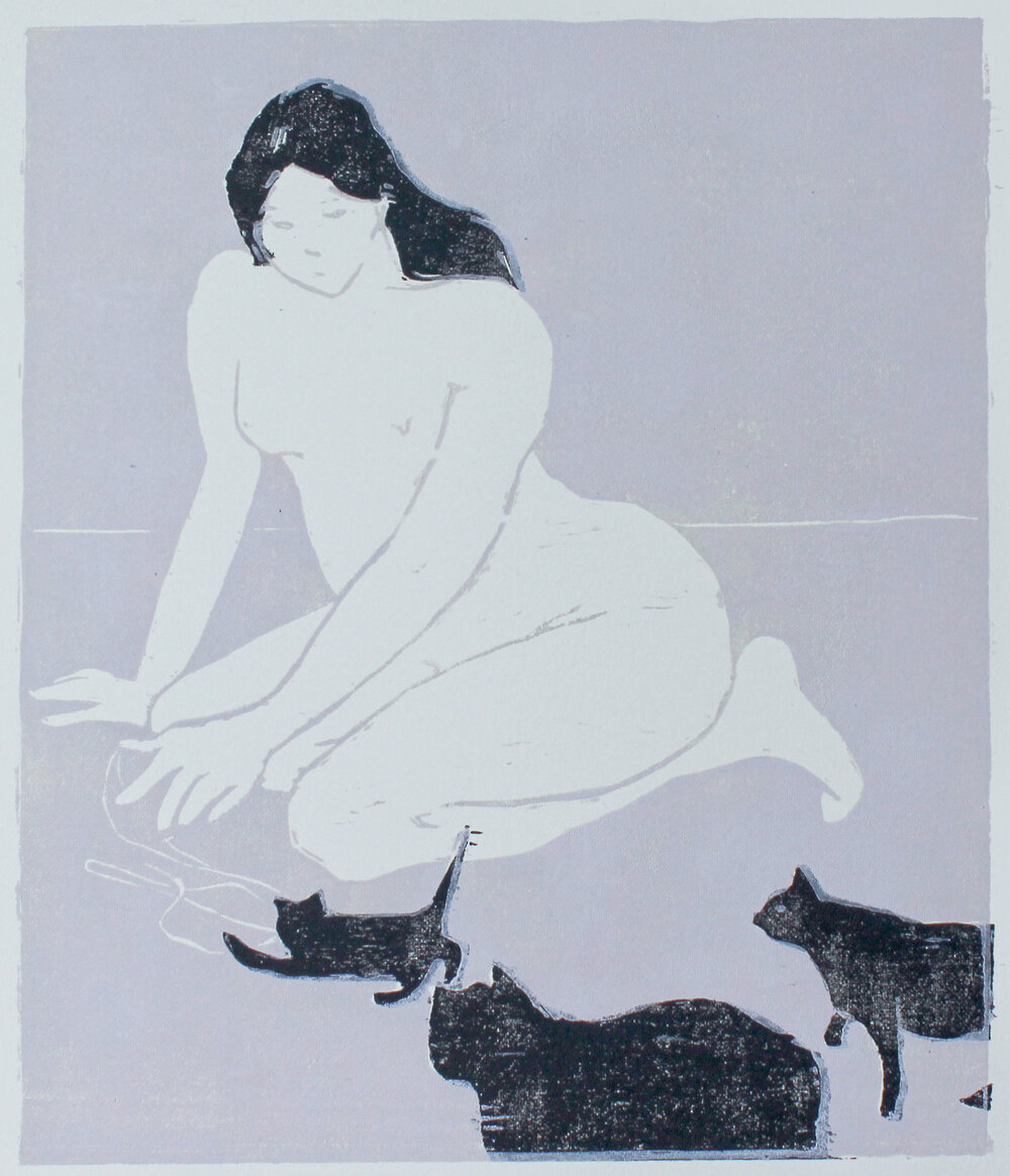 """Cat Lady  woodblock print edition of 1 8.5x10"""" 2018   purchase original"""