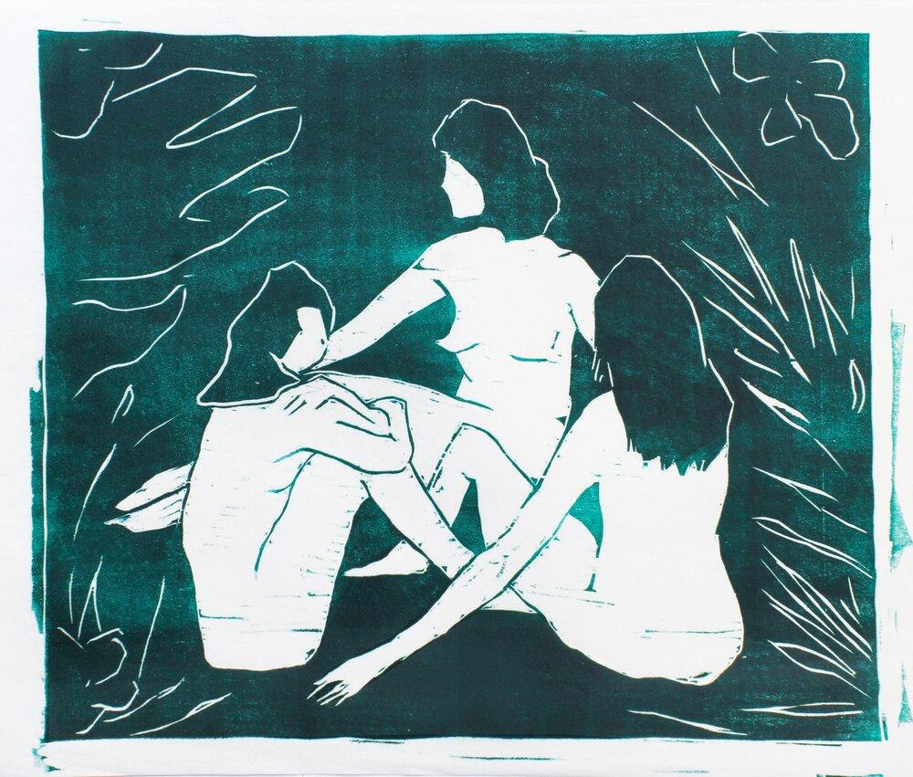"jungle ladies   woodblock print  edition of 12  10x11.5""  2017"