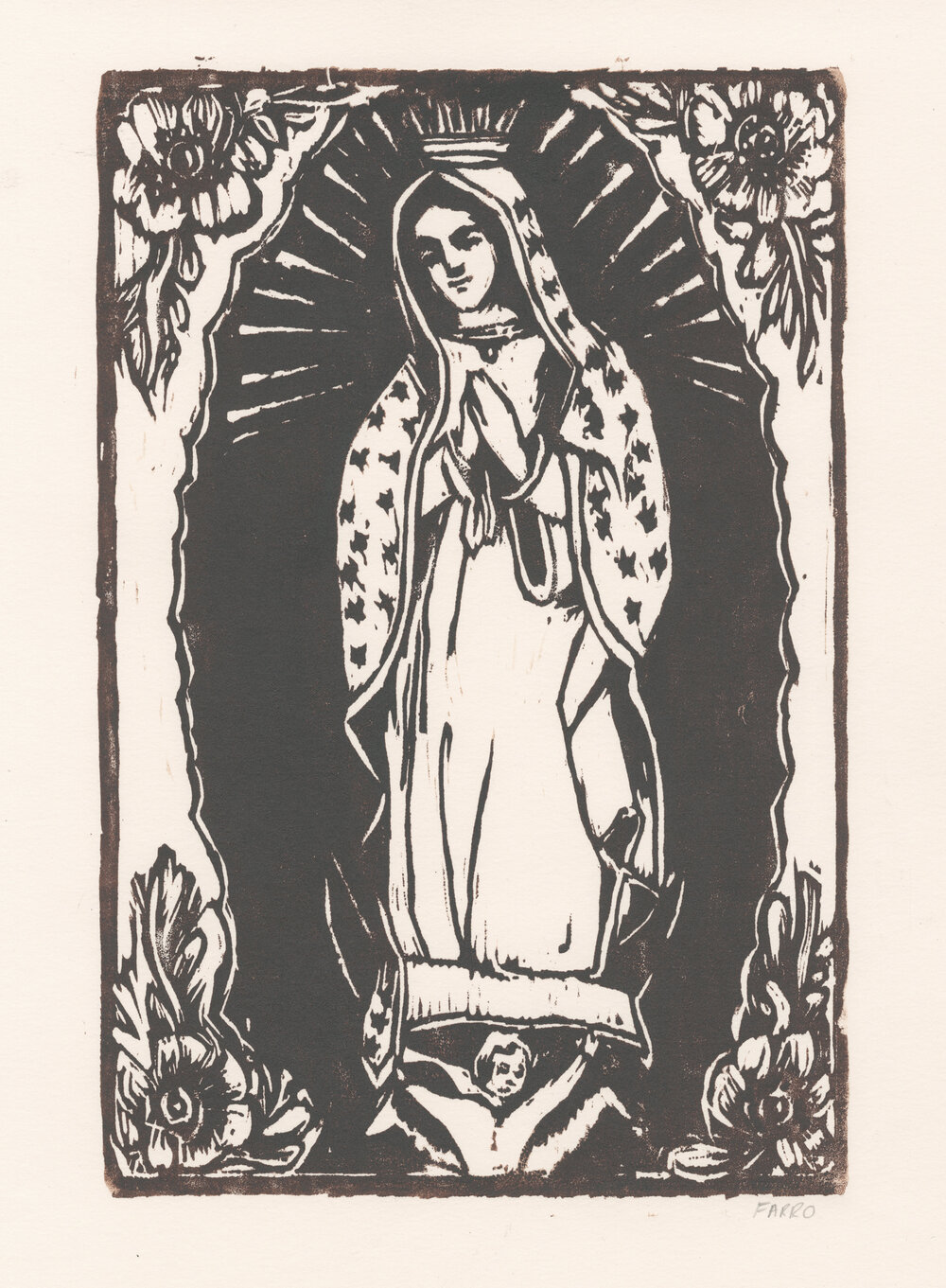 "Our Lady of Guadalupe   woodblock print  edition of 45  8x12""  2012"