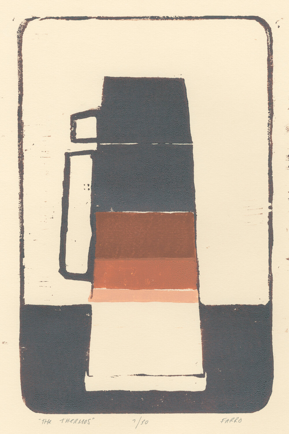 "the thermos   woodblock print  edition of 30  7x11""  2011"