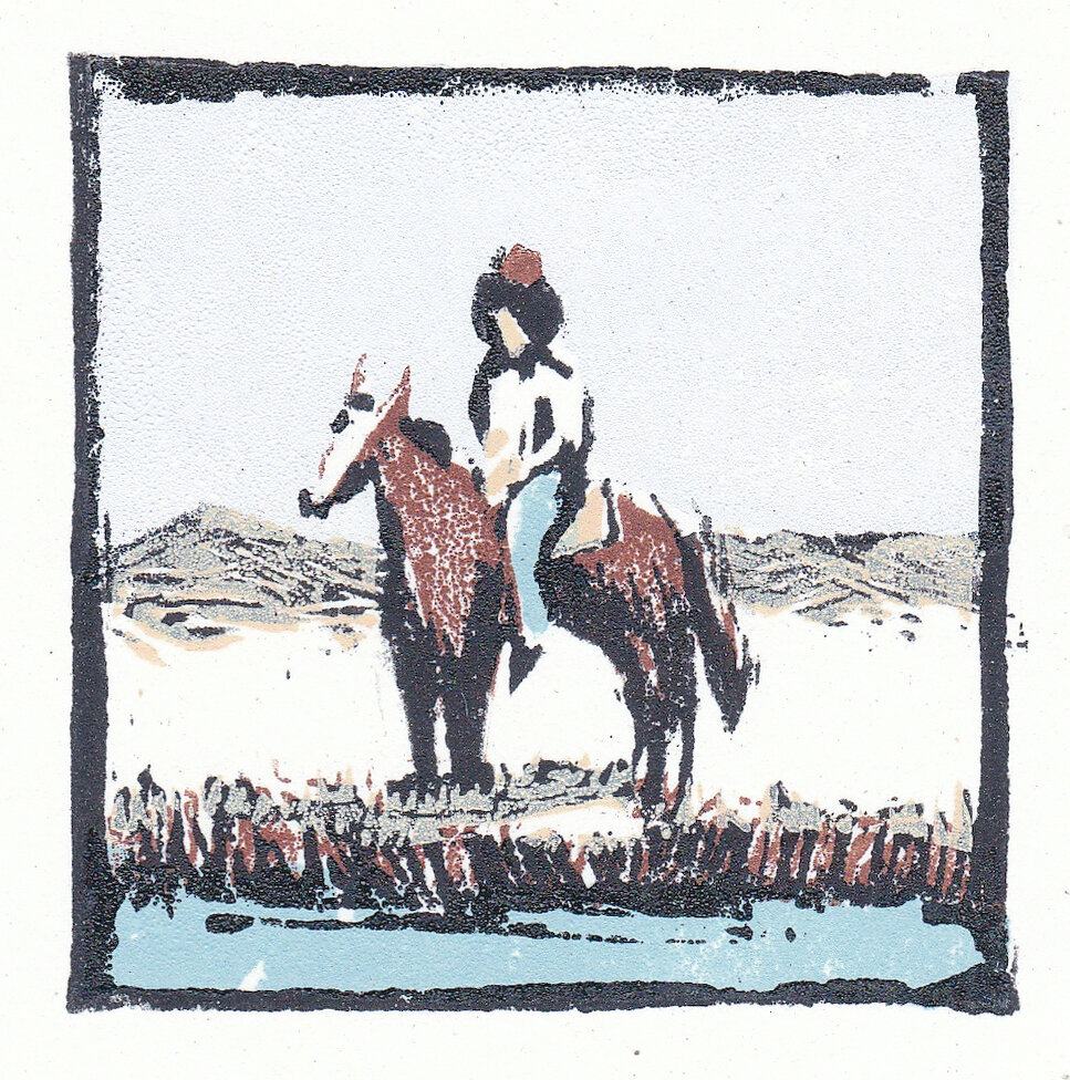 """frontier   woodblock print  edition of 75  2.75x2.75""""  2012"""