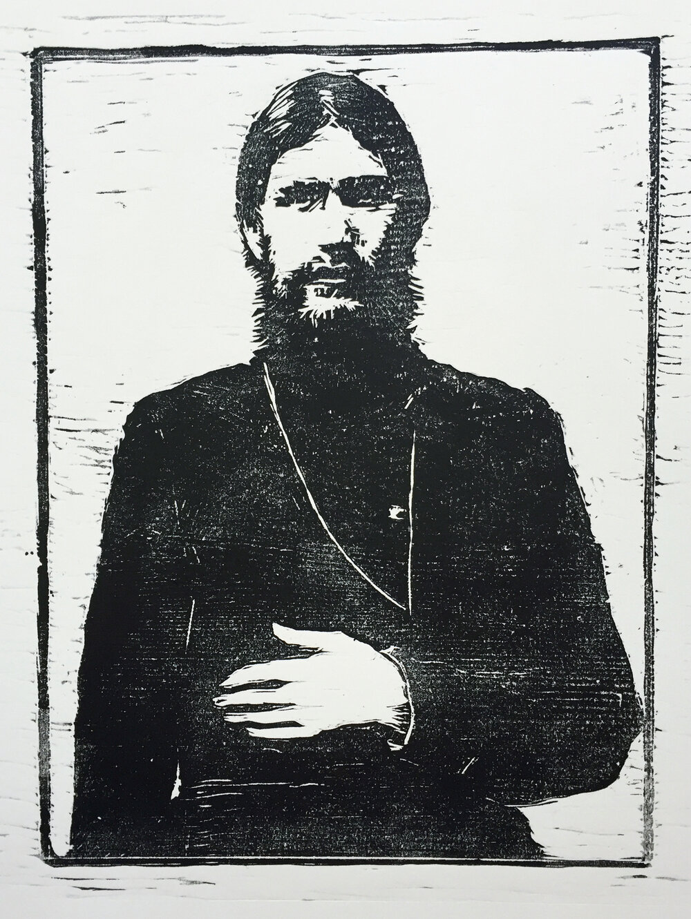 "Rasputin   woodblock print  edition of 50  7.75x10.25""  2015"