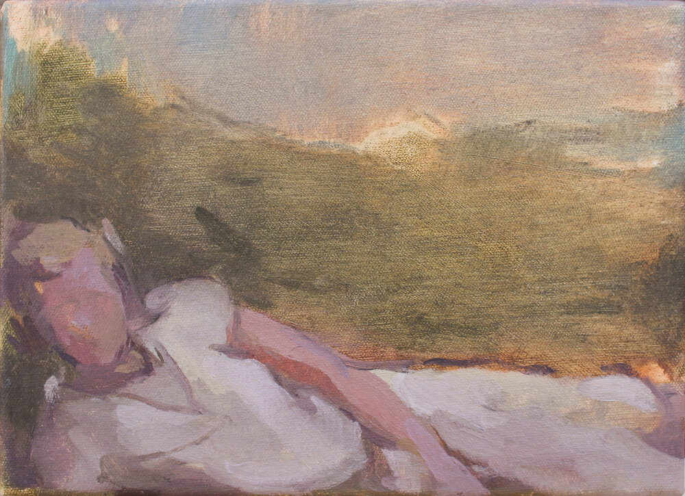 """Cecilia in a Field  oil on canvas 8x11"""" 2015  available"""