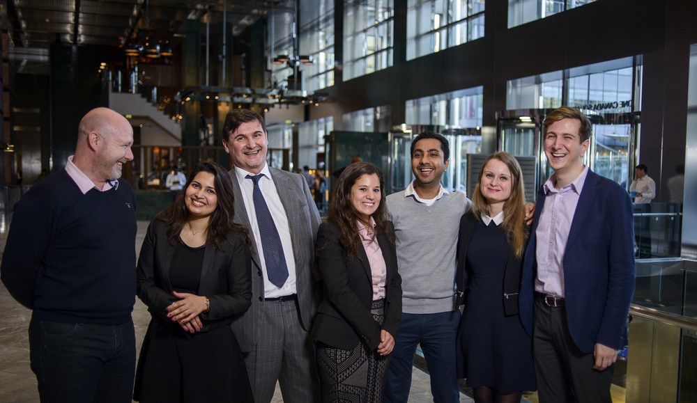 Bankable Team Picture. Left to Right; Steve Taylor, Rashee Pandey, Eric Mouilleron, Elena Fiorio, Avinash Agrawal, Marion Becourt, and Alexander Neagoe.