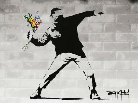 banksy, flowers, fintech