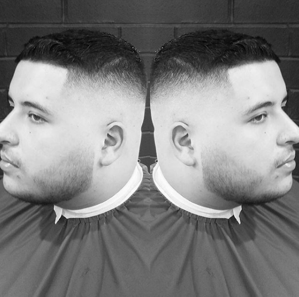 Crew Cut + High Fade - Short haircuts is and always will be a top men's hair trends. Crew cut is a classic hairstyle. The high fade cut on the sides and line up along the hairline makes this a more modern haircut.Book Now!