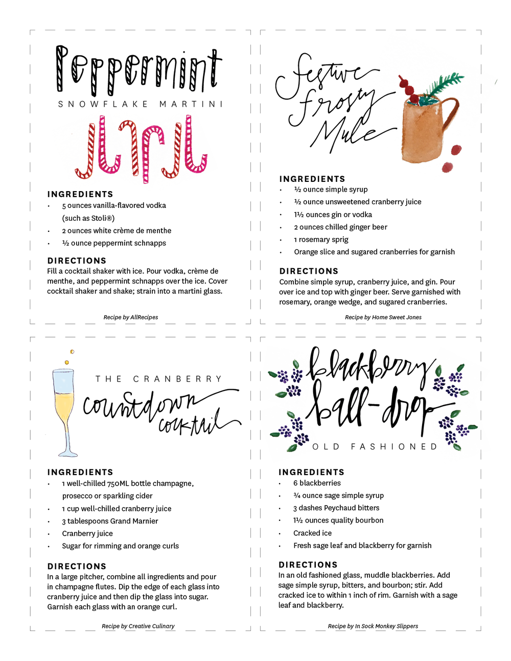 Festive Five Cocktail Recipe Downloads | Flyover Design Co.