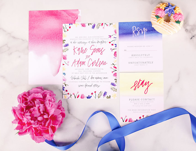 bright blue + pink garden wedding