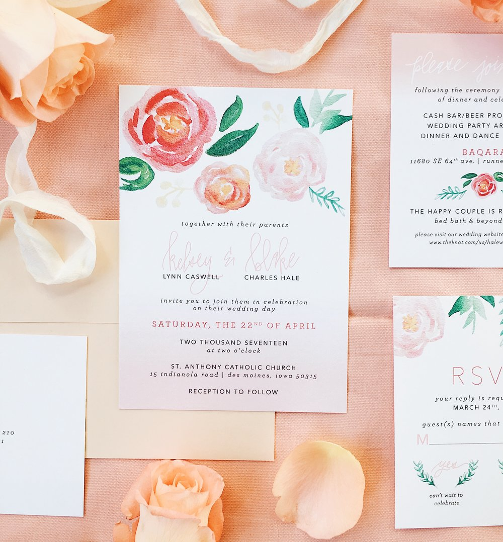 watercolor-blush-florals-flowers-floral-peach-pink-palepink-whimsical-romantic-beautiful-light-airy-weddinginvites-wedding-invitations-suite-springwedding-spring-calligraphy-handlettered