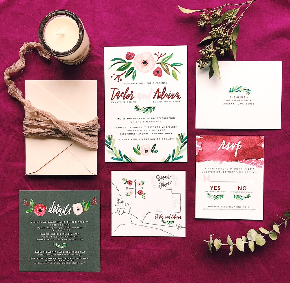 greenery-romantic-iowa-wedding-blush-magenta-invitation-watercolor-calligraphy-handlettering-weddinginvitations-invites-invitation-suite-watercolor-brushstrokes-maroon-plum-burgundy-pink