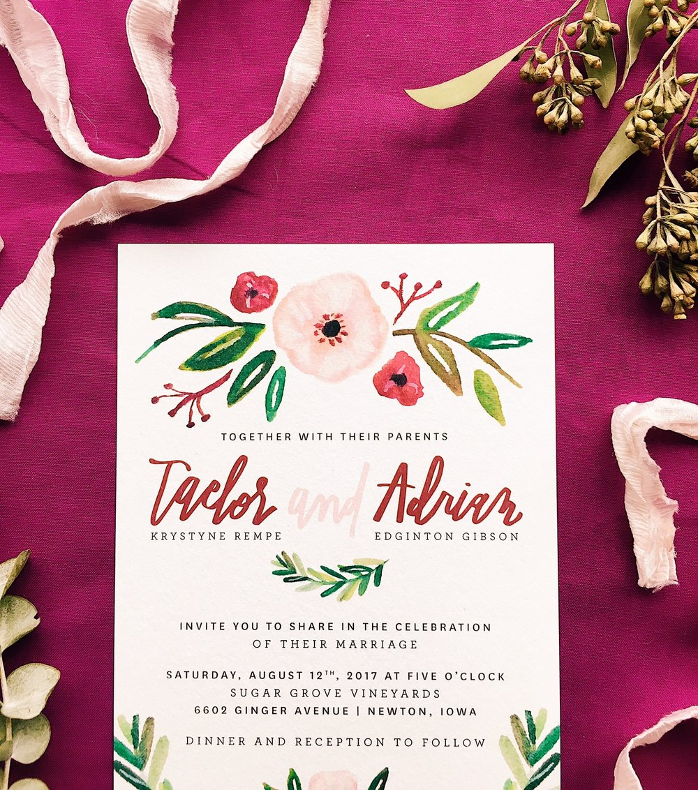 greenery-romantic-iowa-wedding-blush-magenta-invitation-watercolor-calligraphy-handlettering