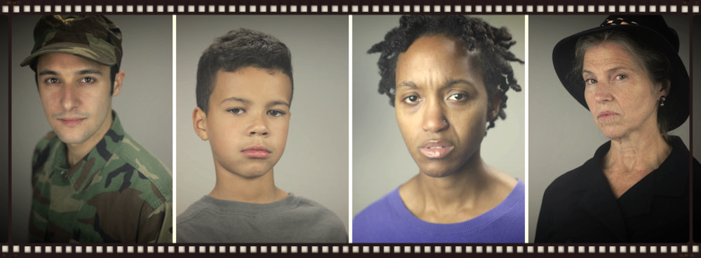 Featured cast of Peach Pie: Father (Johnny Quinones), Son (Jalon), Mother (Robin JaVonne Smith) and Mrs. Riley (Kathryn G. Howell). Photos by Roberto Mighty