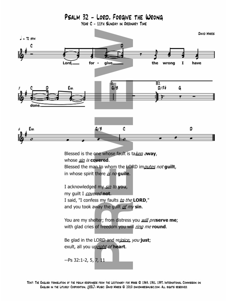Psalm 32 Lord, Forgive the Wrong I Have Done Sheet Music