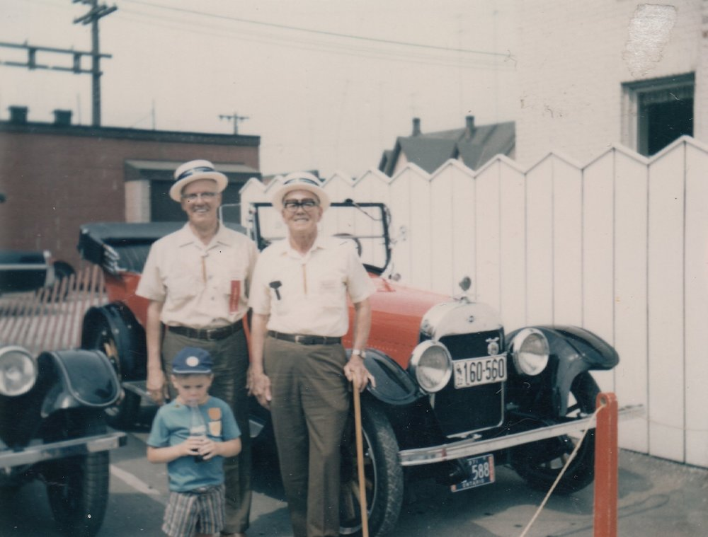 Tom and George Russell with their 1924 McLaughlin Buick, Oshawa, Ontario 1971