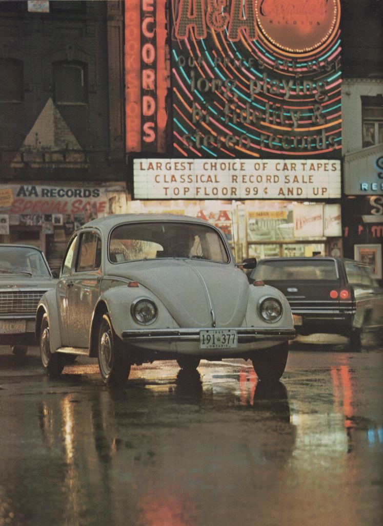 Volkswagen Beetle - In 1960, the Volkswagen Beetle was Canada's third best-selling car. A Volkswagen Beetle on busy Yonge Street, Toronto, Ontario. Volkswagen Beetle brochure, 1969. Collection of the Canadian Automotive Museum.