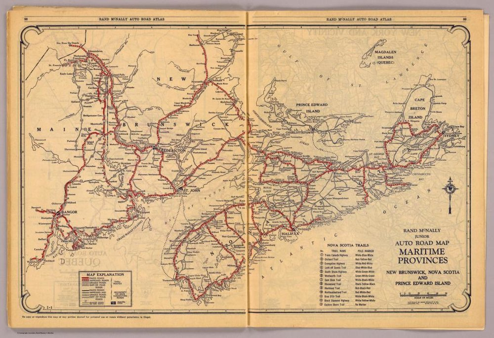 Road map of Nova Scotia, 1927.  Rand McNally and Co. David Rumsey Map Collection, Cartography Associates.