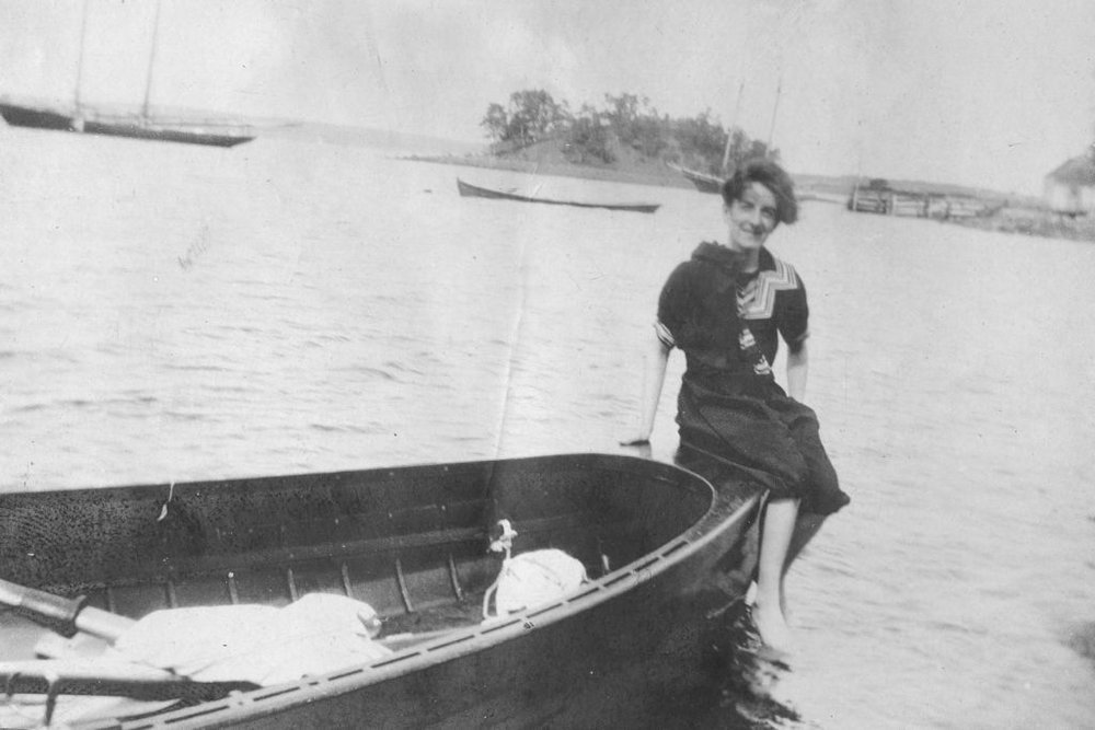 Clara Dennis - Clara Dennis at Purcell's Cove, 1907. Clara Dennis Nova Scotia Archives, 1981-541 no. 1089.