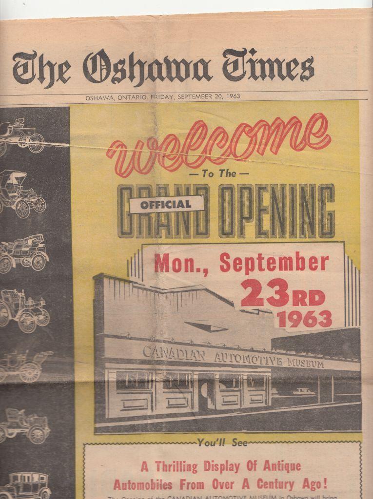 لافتة إعلان الافتتاح الأعظم لمتحف السيارات الكندي عام 1963المجموعة المعروضة في متحف السيارات الكندي.