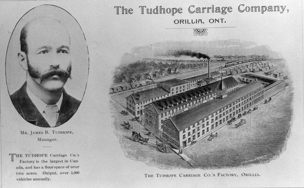 安大略省奥里利亚的 Tudhope Carriage Company。奥里利亚公共图书馆,OR_423。