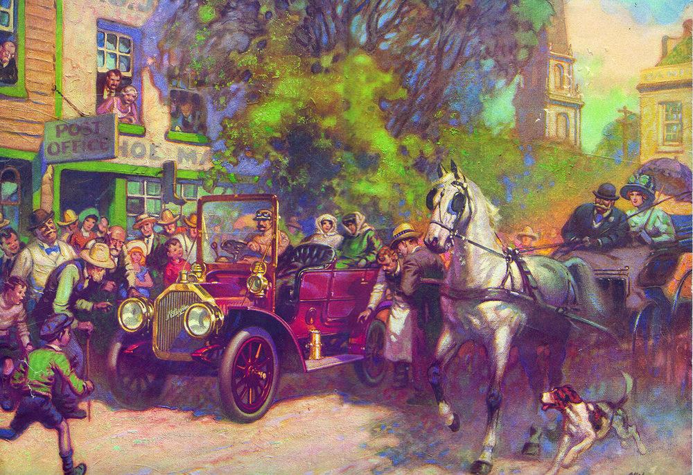 Um automóvel McLaughlin e uma carruagem puxada por cavalos numa rua movimentada. Coleção do Museu Automotivo Canadense