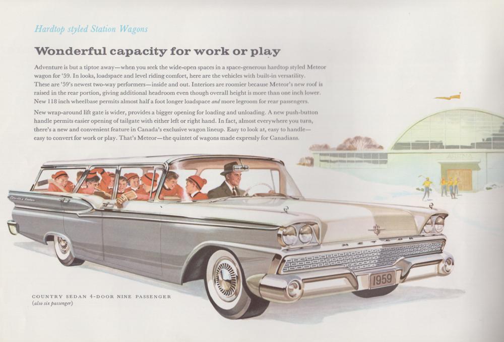 صورة ترويجية لسيارة ميتيور عام 1959.المجموعة المعروضة في متحف السيارات الكندي.