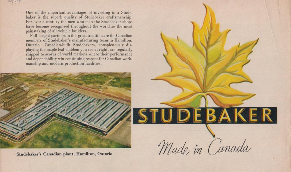 Os Studebakers foram produzidos em Hamilton, Ontário, de 1948 a 1966. Brochura Studebaker, 1954. Coleção do Museu Automotivo Canadense.
