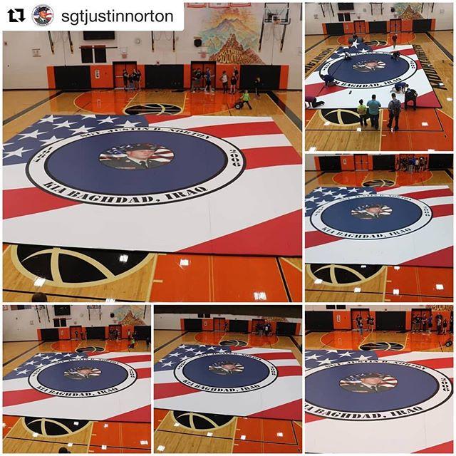 What a wonderful tribute - new wrestling mat at Rainier High School, WA, in honor of SGT Justin D. Norton. #Repost @sgtjustinnorton #neverforgotten #toastahero ・・・ http://www.yelmonline.com/news/article_31381c36-b77f-11e8-bfd8-c7100b07f5dc.html