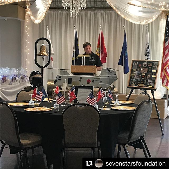 @sevenstarsfoundation Congratulations on completing another great fundraiser and continuing the legacies of the fallen. ・・・ Missing Man Table. A place for each of our seven to join us and be remembered. #sevenstarsgolf2018 #neverforget #militarychildren #golftournament #toastahero
