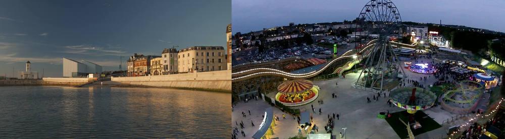 Turner contemporary (Left), Dreamland margate (right)