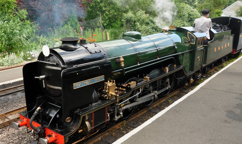 Steam train at hythe railway station