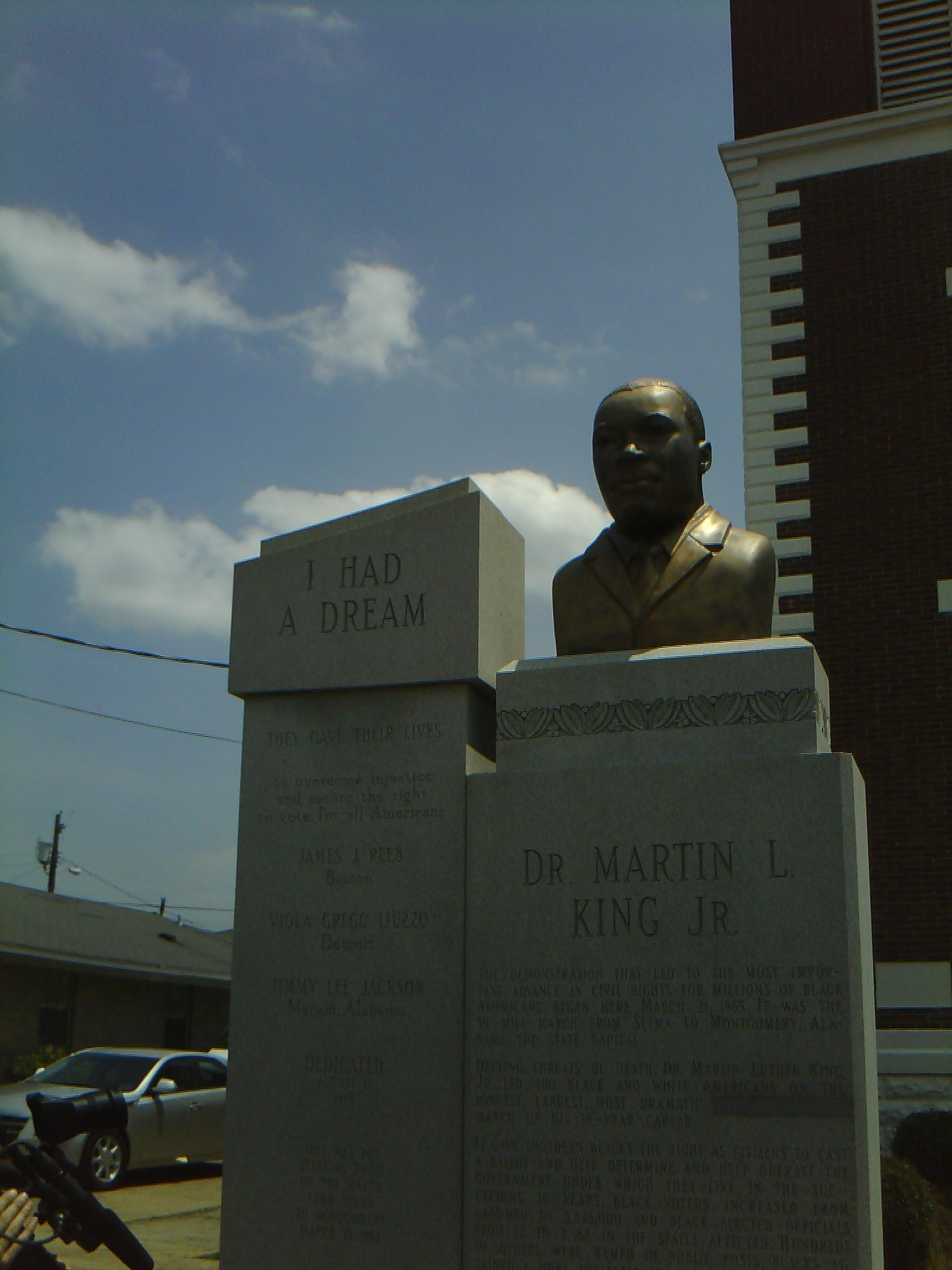 "Martin Luther King Jr. Memorial with ""had"" instead of ""have"", outside of Brown Chapel, Selma, Alabama"