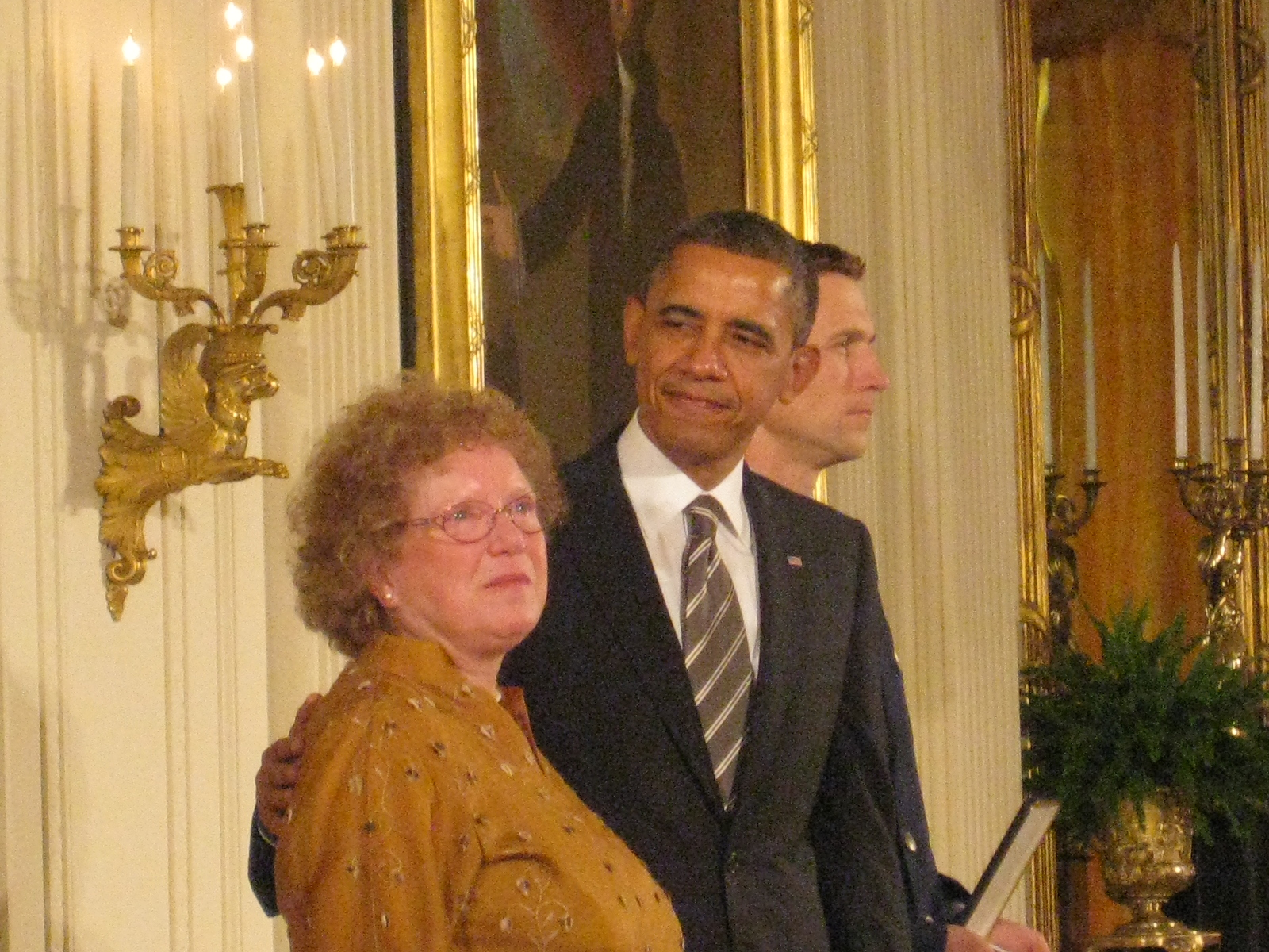 President Barack Obama with Jeanne Manford's daughter Suzanne Swan, who accepted the Presidential Citizens Medal on behalf of her mother.