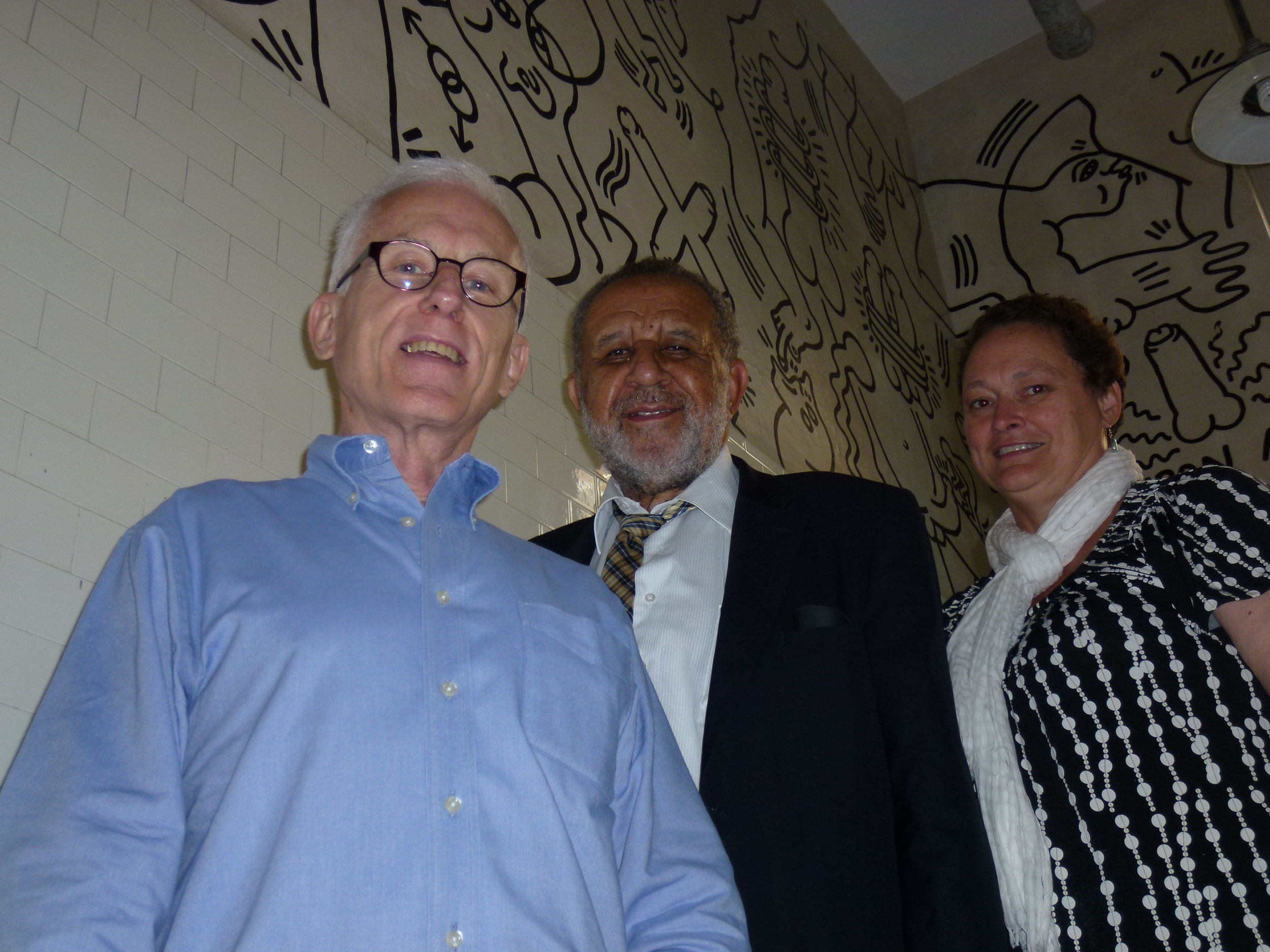 With Robert Woodworth in the Keith Haring (mural) meeting room at the LGBT Community Center, New York City