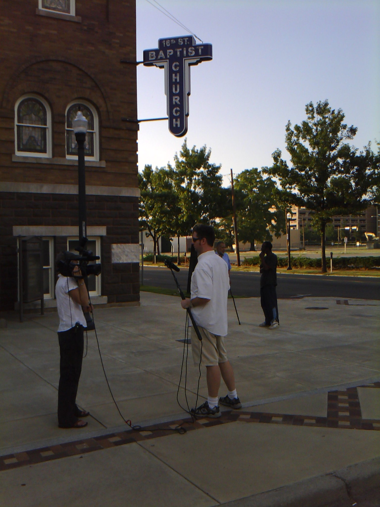 Tonya, TIP Director of Photography, and Teddy Champion, AL Tour Production Assistant, at 16th Street Baptist Church, Birmingham