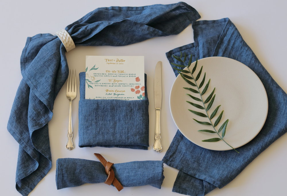 """- look and feel of washed denim - 100% linen - 19""""x19"""""""