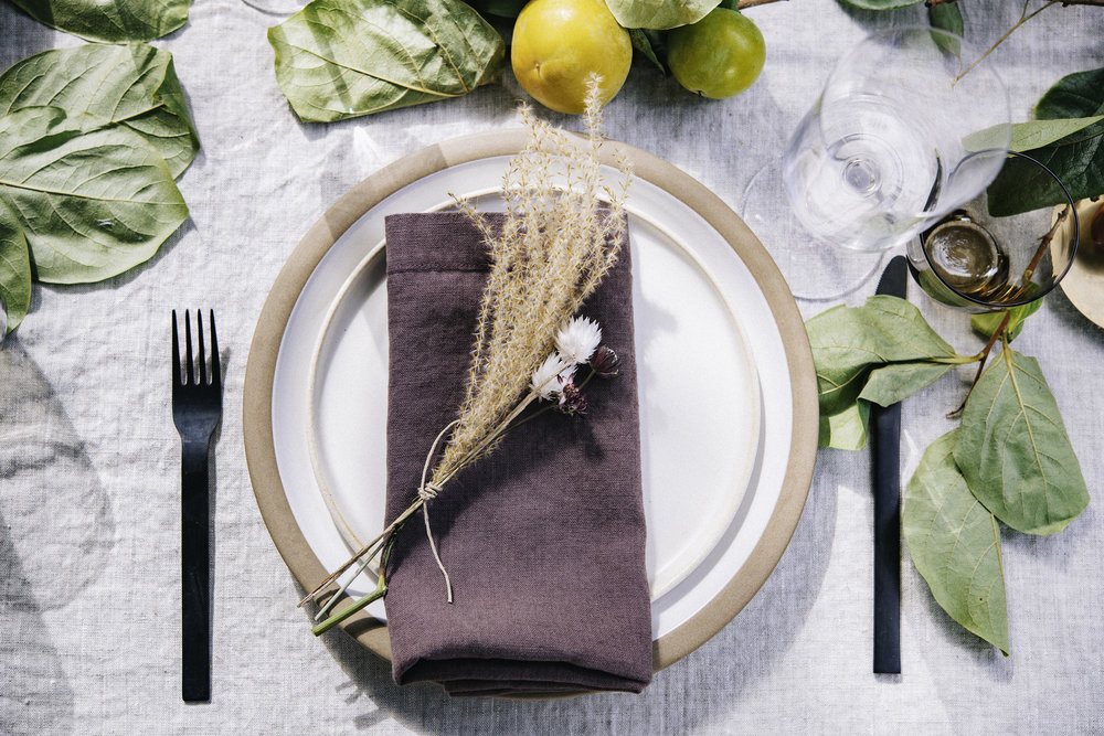 Table cloth and linen  napkin in mulberry : FOLD. Salad plate: Jos Ceramics for FOLD. Flatware: FOLD styling inventory. Photo: Silas Fallstich