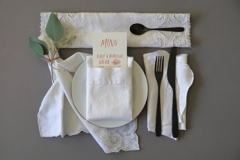 "- 100% vintage linen - combination of plain and embroidered styles - Variable sizes, starting at 15""x15"" - Assorted but cohesive styles - 2 or more napkins of the same style"