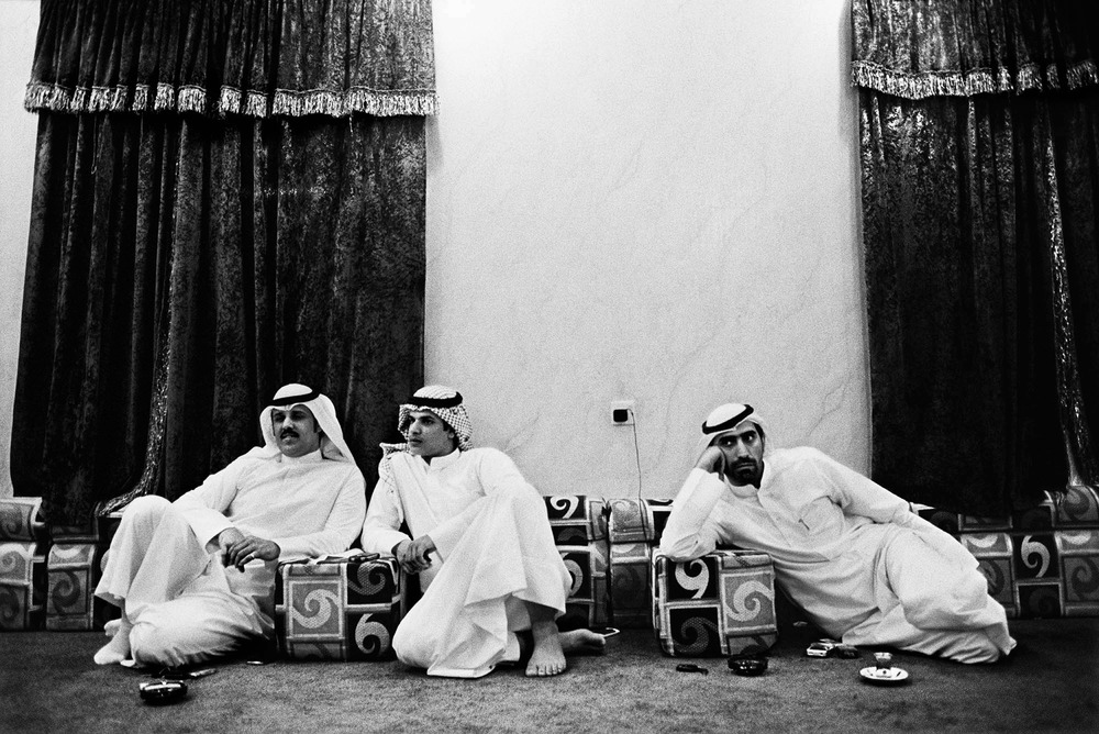 It is estimated that some 108,000 people from the Bidoon community in Kuwait are without the right to citizenship and are stateless. Three men from the Bidoon community sit at a diwaniya. All three of the men are unemployed because nearly all Kuwaiti companies are restricted from legally hiring Bidoon.