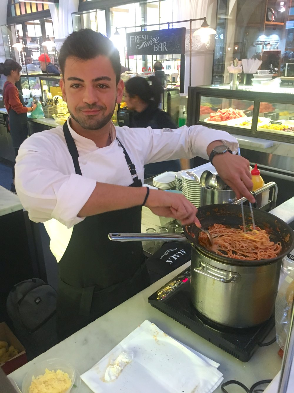 On Saturday of last week, we launched our new homemade pasta sauce, made from vine ripened oxheart tomatoes.    Our Parisi chef prepared samples of our freshly made pasta sauce accompanied by freshly made pasta. The dish was such a huge success that it has now been added to our Parisi menu at our QVB location.    The pasta sauce will now be sold through our wholesale business and available for purchase at our QVB and Sydney Fish Market stores.    Join us at our Barangaroo store tomorrow to sample this beautiful winter dish!
