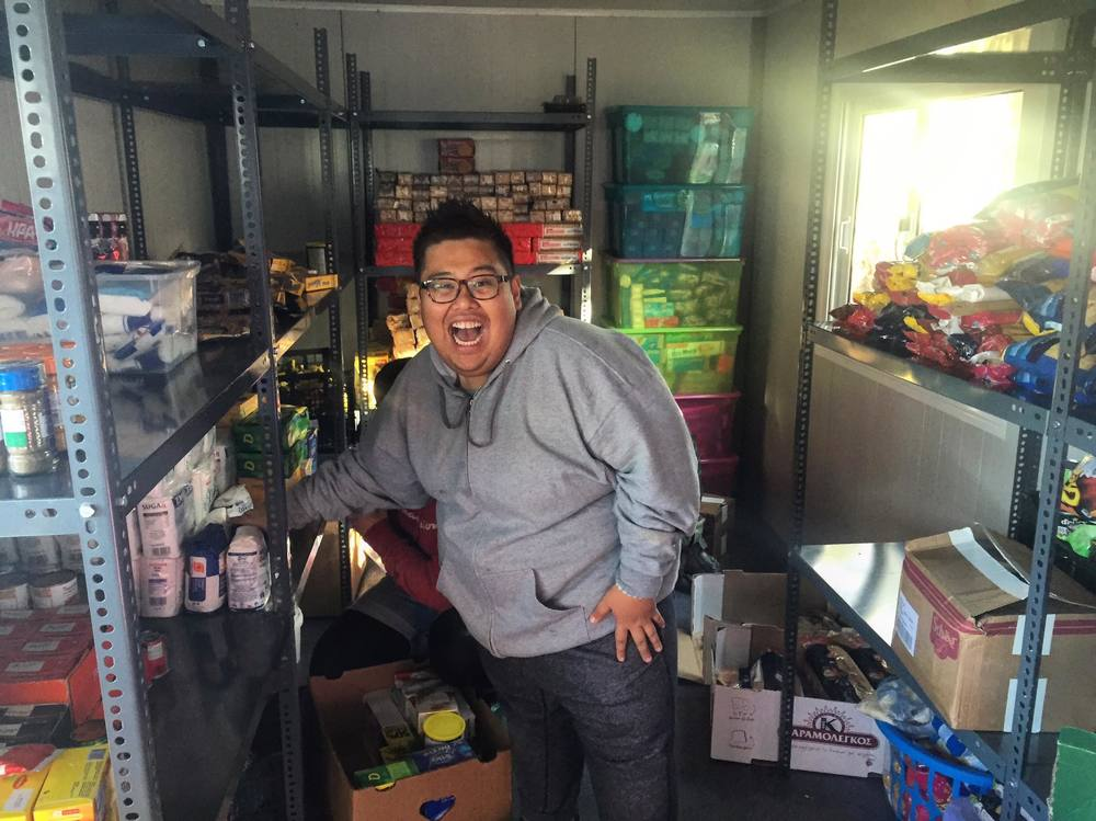 The always happy Rayyan Harries inside the Platanos Isobox, getting it organized
